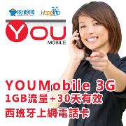 西班牙YOUMobile西遊卡3G上網電話卡(1GB)