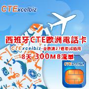 西班牙歐洲行CTE上網電話卡(300MB上網流量)